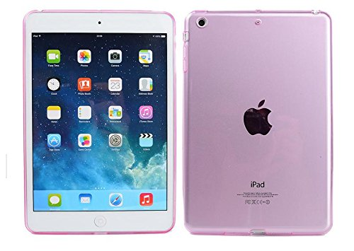 Onlineb2c TPU Transparent Gel Silicone Bumper Tab Case for Apple iPad Mini 1 / 2 / 3 (7.9-inch) - Pink