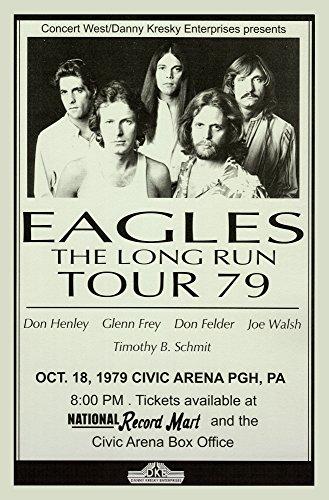 The Eagles Long Run Tour 1979 Retro Art Print - Poster Size - Print of Retro Concert Poster - Features Don Felder, Glenn Frey, Don Henley, Timothy B. Schmit, and - Retro Poster Concert