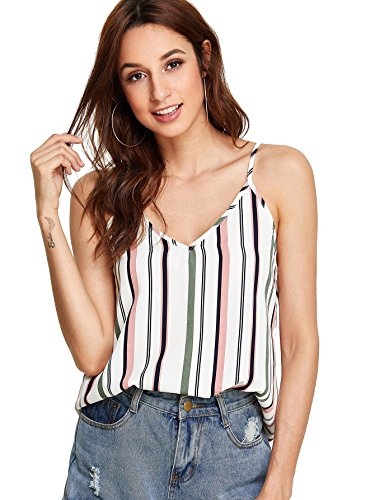 - Romwe Women's Summer Colorblock Striped Print Cami Top White S