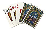 Seattle, Washington - Stained Glass Window (Playing Card Deck - 52 Card Poker Size with Jokers)