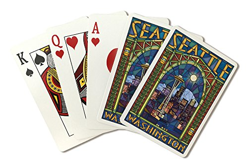 Seattle, Washington - Stained Glass Window (Playing Card Deck - 52 Card Poker Size with (Texas Holdem Stained Glass)