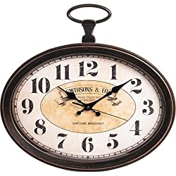 Analog Better Homes and Gardens Vintage Oval Pocket Watch Wall Clock
