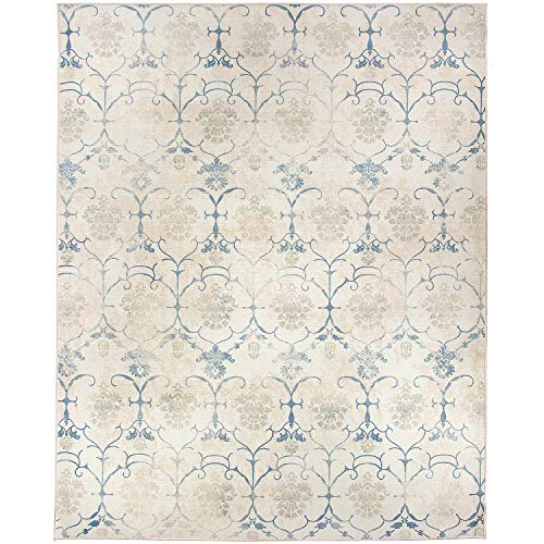 RUGGABLE Washable Stain Resistant Indoor/Outdoor, Kids, Pets, and Dog Friendly Area Rug 8'x10' Leyla Creme Vintage (Creme Rug)