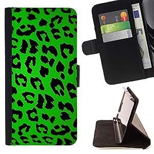 Momo Phone Case / Flip Funda de Cuero Case Cover - Patrón Leopard Green Design Negro Estilo - Samsung Galaxy J1 J100
