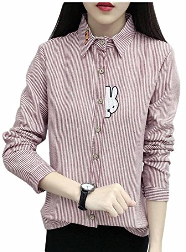 Button Embroidery Womens Lined today Long Winter Down UK Sleeve Shirt Red Fleece WqfxwW4R8O