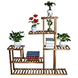 WONdere 2/3-Tier Bamboo Plant Stand Planter Rack Flower Pots Holder Disply Rack Multi-Tier Wood Plant Stand Planter Rack Flower Pots Holder Display (C)
