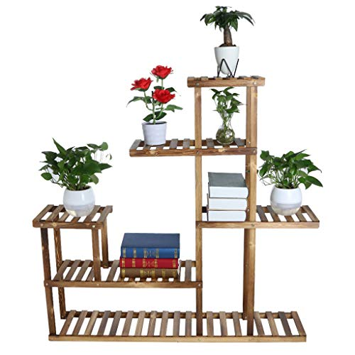 - Utility Bamboo 5 Tier Sturdy Plant Stand Flower Pot Holder Display Rack,Stepping Style Plant Storage Shelf Planters Indoor Outdoor Amiley【Ship from USA】 (Brown)