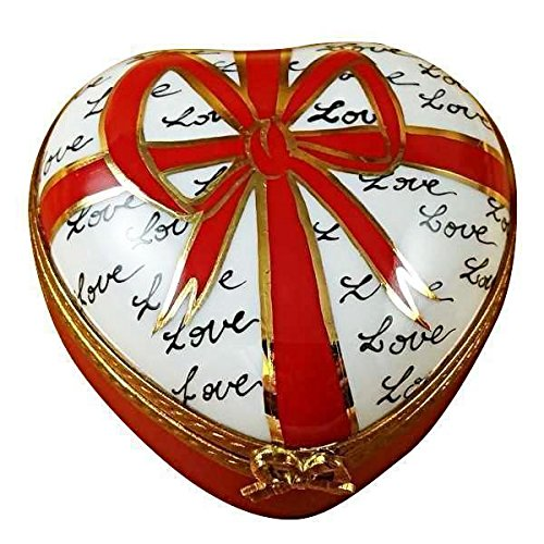 HEART W/RED BOW & 3 CANDIES - LIMOGES PORCELAIN FIGURINE BOXES AUTHENTIC (Limoges Candy)