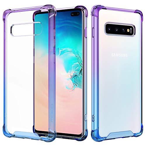 MoKo Compatible with Samsung Galaxy S10 Plus Case, Clear Reinforced Corners TPU Bumper + Anti-Scratch Rugged Transparent Hard Panel Cover Fit with Samsung Galaxy S10+ 6.4 inch 2019 - Blue + Purple