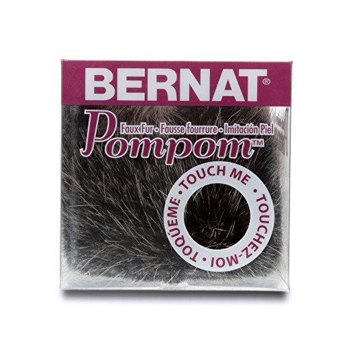 Bernat Faux Fur Pom Pom, 3 in, Black Mink