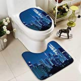 Muyindo U-shaped Toilet Mat-Soft Kuala Lumpur Skyline Night KLCC Twin Towers Malaysian Landmark Mochromic 2 Piece Toilet Toilet mat