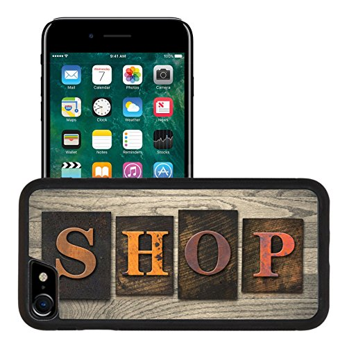 Luxlady Premium Apple iPhone 7 Aluminum Backplate Bumper Snap Case iPhone7 IMAGE ID: 35334575 The word SHOP written in wooden letterpress - Premium Mall Outlet Coupons