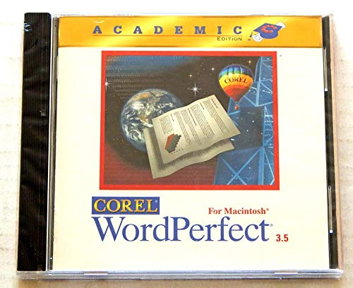 Corel WORD PERFECT FOR MACINTOSH 3.5 Academic Edition - Factory Sealed CD Rom from 1996 - IMPORTED from Canada - MAC OS System 7 or Higher - Master Juggler Pro - 5400 Clipart Images - 200 photos, over 700 sounds, 150 fonts