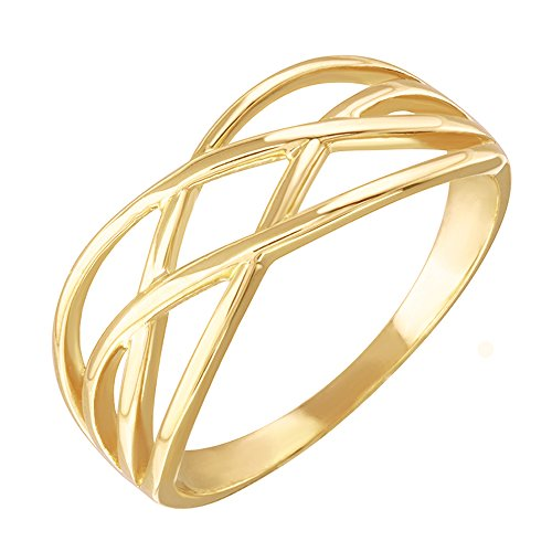 High Polish 14k Yellow Gold Celtic Knot Ring for Women (Size 7.25) (Knot Claddagh Ring Gold)