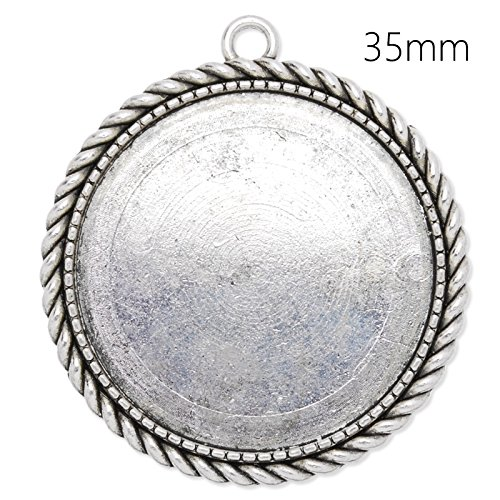 35mm Round Bezel Settings Antique Silver Plated Pendant - Silver Plated Setting