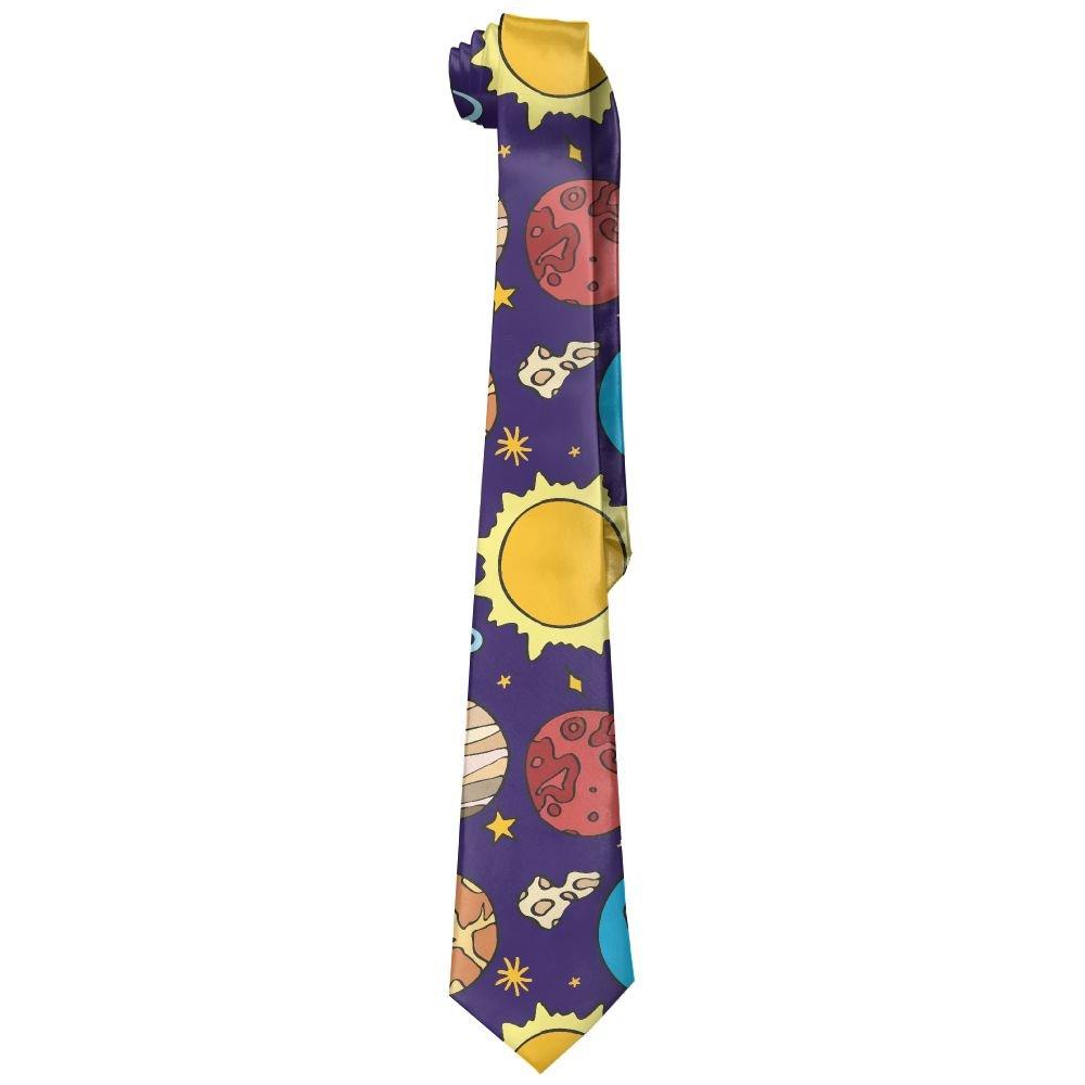 Shadidi Mens Planets Sun Earth Fashion Tie Necktie