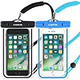 KAMOTA Waterproof Phone Case, IPX8 Universal Waterproof Phone Pouch Cases Dry Bag with Military Lanyard for iPhone, Samsung,Google Pixel, HTC, LG, Huawei (Blue, Black 2-Pack)