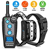 Training Dog Collar - Dog Training Collar with Remote, Rechargeable Dog Shock Collar with 3 Training Modes, Beep, Vibration and Shock 1-100 Levels, 100% Waterproof 1800ft Shock Collar for Dogs Small, Medium and Large Size
