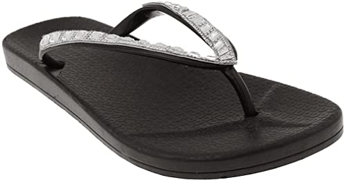 3ab24e0cb50b Capelli New York Ladies Fashion Flip Flops with Gem and Rhinestone Trim  Black 6