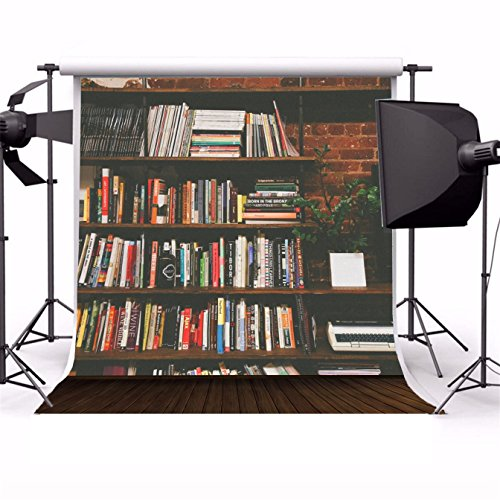 AOFOTO Photography Girl Backgrounds 8x8ft Backdrop Bookshelf Various Books Plant Pot Wooden Floor Nostalgic Scene Photo Shoot Studio Props Video Lover Baby Adult Kid Boy Portrait Seamless