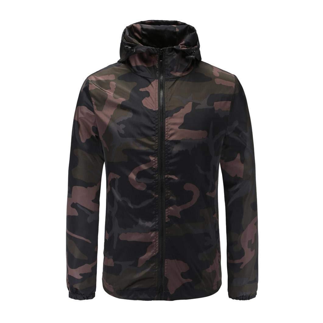 Danhjin Men's Plus Size Camouflage Softshell Zipper Pullover Long Sleeve Hooded Mens Sweatshirt Tops Blouse Waterproof Jacket (Army Green, XXL)