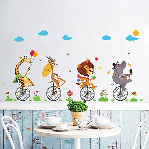 Cartoon Animal Stepping Bicycle Wall Sticker, Lion Giraffe Rhinoceros Removable Peel&Stick Wall Decals for Children