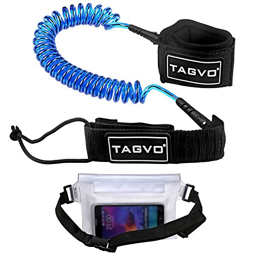 Tagvo Sup Leash Coiled 10' Super Strong 7mm Cord with Waterproof Waist Pouch, Comfortable Padded Neoprene Ankle Cuff Stand up Paddle Board Leash with Double Swivels Anti-rust, Flexible Surfboard Leash (Padded Neoprene Pouch)