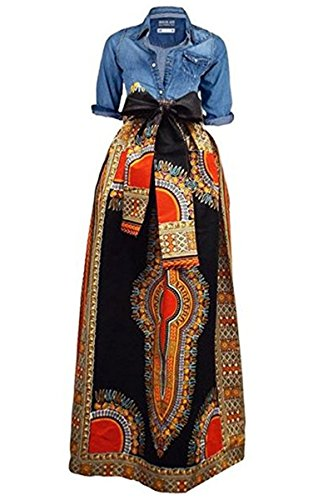 Huiyuzhi Women's African Print Skirts Long Maxi Skirt Dashiki Ball Gown (4XL, Black)