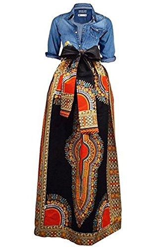 Huiyuzhi Women's African Print Skirts Long Maxi Skirt Dashiki Ball Gown (L, Black) (Ball Speed To Club Head Speed Conversion)