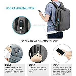 Kuprine 15.6 Inch Lightweight Travel Business Laptop Backpack for Women Men, Water Resistant College Computer Backpacks with USB Charging port, Anti Theft Slim Bag with Lock