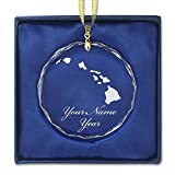 Round Crystal Christmas Ornament - Hawaiian Islands - Personalized Engraving Included