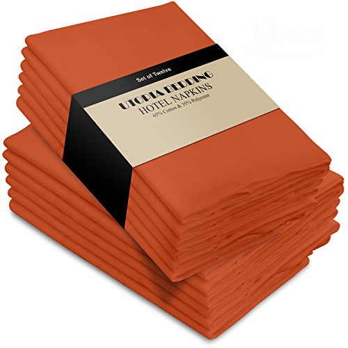 Utopia Bedding Cotton Dinner Napkins - Orange - 12 Pack (18 inches x 18 inches) - Soft and Comfortable - Durable Hotel Quality - Ideal for Events and Regular Home Use by Utopia Bedding