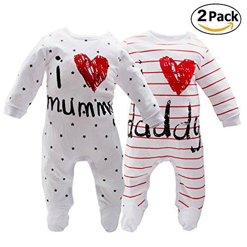 AOMOMO Unisex-Baby Newborn I Love Mummy I Love Daddy Bodysuit 2 Pack (3 Month) by AOMOMO (Image #1)