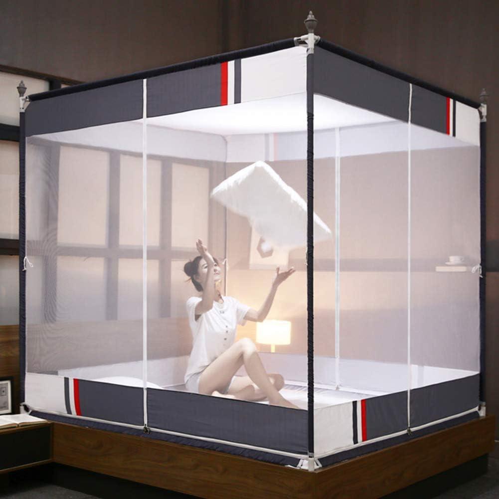 蚊帳テント,モンゴルユルトドームネット ベッドの装飾のための3つの開口部が付いている4コーナーベッドキャノピー-グレー