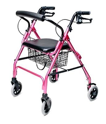 Lumex Walkabout Lite Four-Wheel Rollator, Pink
