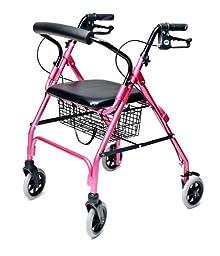 Lumex Walkabout Lite Four Wheel Rollator, Pink