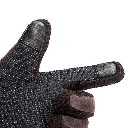 Touch Screen Mens Genuine Leather Gloves Mittens Pig Skin Male Winter Warm Windproof Outdoor Thermal