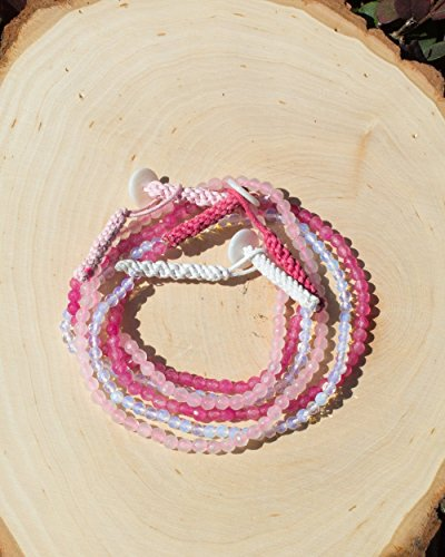 Sivalya NEW LOVE | Gemstone Beads Wrap Bracelet - Set of 3 | Rose Quartz, Moonstone and Cherry Quartz Gemstones Beaded Wrap Bracelets, One Size (3 Gem Moonstone New)