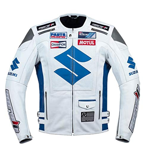 Suzuki White Motorcycle Racing Leather Jacket (M EU50)