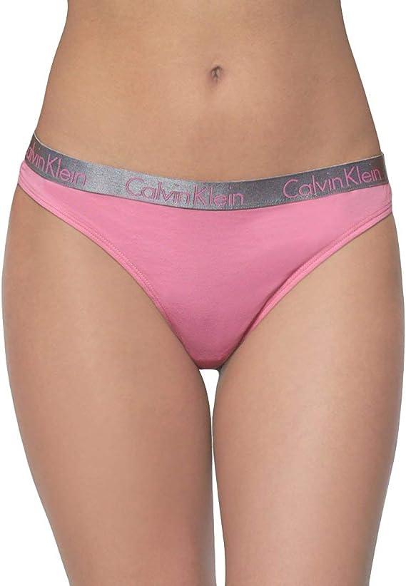 Calvin Klein Mujer QD3539 Bragas Tipo Tanga - Rosado - Large: Amazon.es: Ropa y accesorios