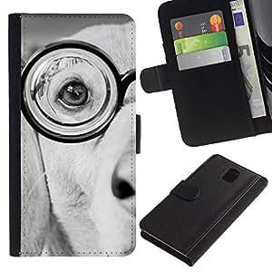 Glasses Labrador Terrier Dog White Black - la tarjeta de Crédito Slots PU Funda de cuero Monedero caso cubierta de piel Samsung Galaxy Note 3 III