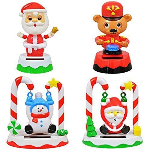 Christmas Solar Set of (4) Swinging Santa, Snowman, Drumming Bear & Bobblehead Santa