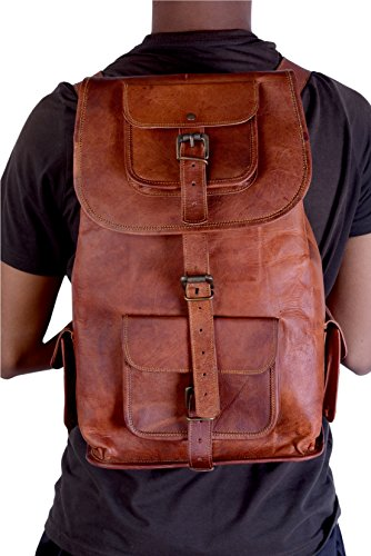 Universal leather 20 inch Leather Backpack Fashion Shoolbag Camping Bag Shoulder Bag Leather Rucksack
