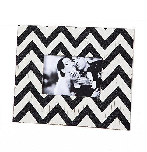 Cypress Home Wooden 4x6 Picture Frame, Black and Cream Chevron