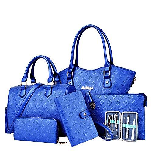 YipGrace Donne Sei Pezzi Borse Spalla Portafoglio Sets Blu