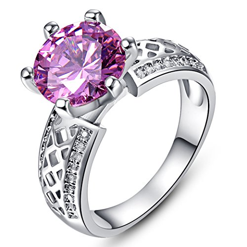 PAKULA Silver Plated Women Simulated Pink Topaz Solitaire Cocktail Ring Size 6