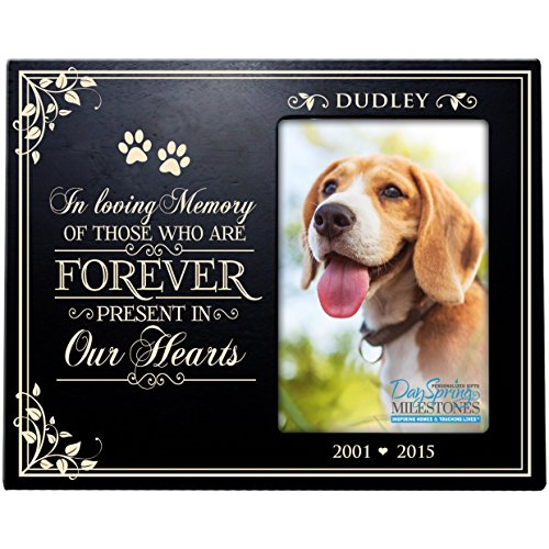 Personalized Pet Memorial Gift, Sympathy Photo Frame, In Loving Memory of Those Who Are Forever Present In Our Hearts, Custom Frame Holds 4x6 Photo by DaySpring Milestones USA Made (Black)
