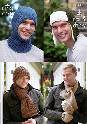 King Cole Mens Hats, Scarves & Balaclava Merino Knitting Pattern 3445 DK, Aran, (Mens Scarf Knitting Pattern)
