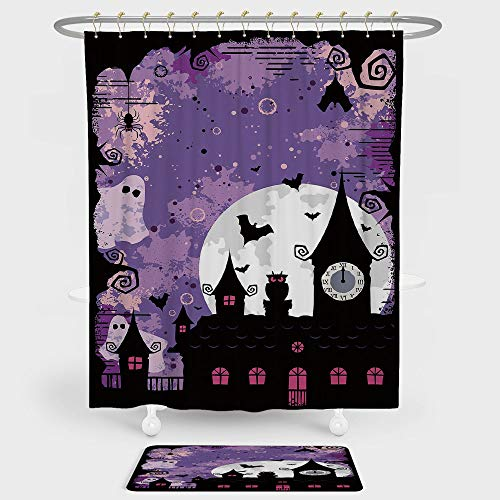 iPrint Vintage Halloween Shower Curtain And Floor Mat Combination Set Halloween Midnight Image with Bleak Background Ghosts Towers and Bats Decorative For decoration and daily use Purple -