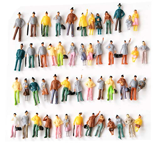People Figurines M50 50 PCs Model Trains Architectural 1:75 Scale Painted Figures Sitting and Standing Tiny People for Miniature Scenes New (Model People Figures)